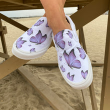 Load image into Gallery viewer, Custom Printed Purple Butterfly Vans