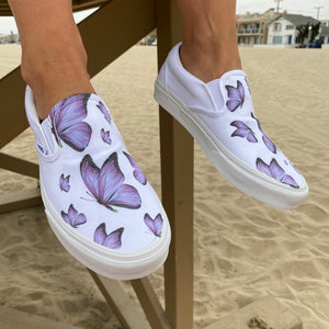 Custom Printed Purple Butterfly Vans