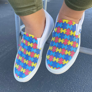 Autism Awareness Puzzle Pieces Slip On Vans Shoes