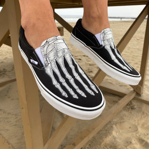 Custom Skeleton Feet X-Ray Red Vans Slip On Shoes
