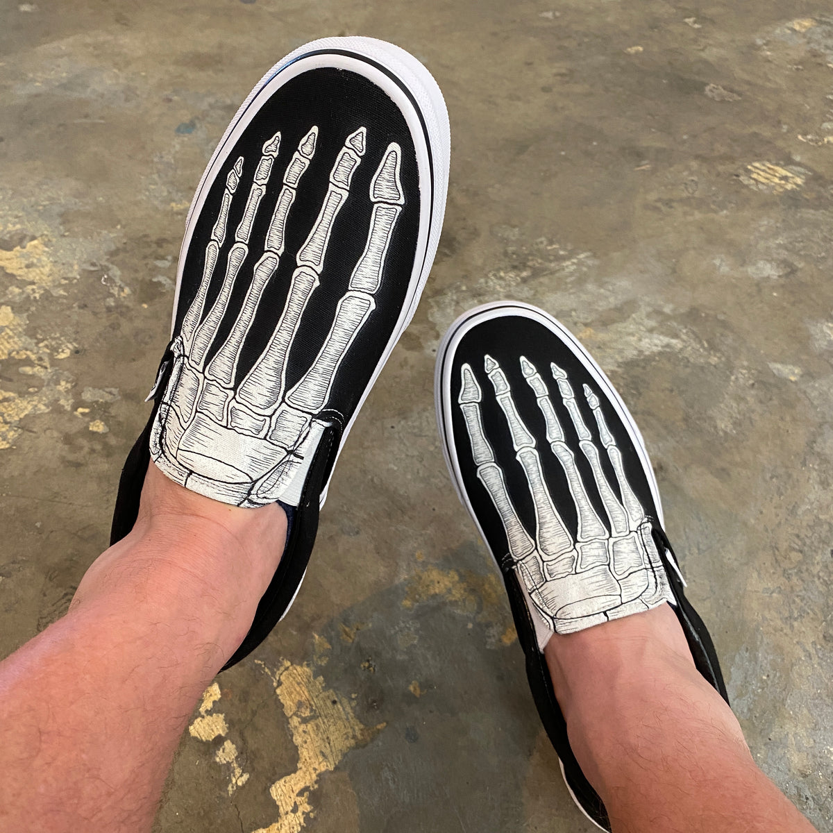 shoes with skeleton feet