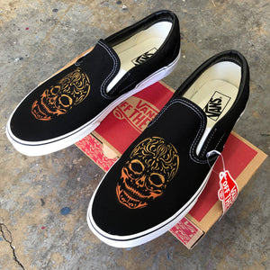Vans Slip-Ons Custom Printed Skeleton Sugar Skull