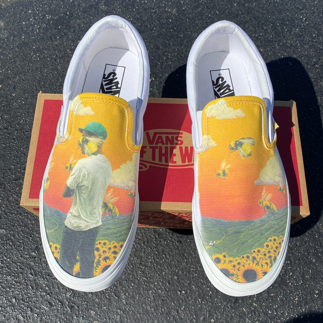 Tyler, the Creator Flower Boy Album - Custom Slip On Vans