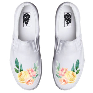 Watercolor Garden White Slip On Custom Printed Vans