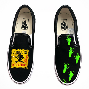 Area 51 KEEP OUT Slip-On Vans