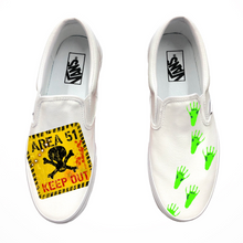 Load image into Gallery viewer, Area 51 KEEP OUT Slip-On Vans
