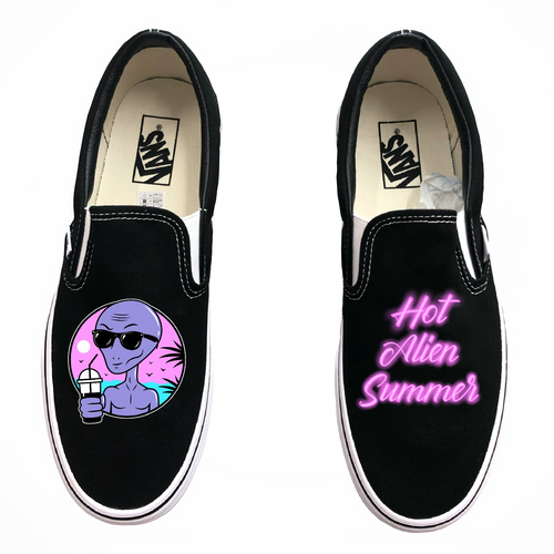 Hot Alien Summer Black Slip-On Vans