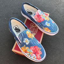 Load image into Gallery viewer, Vans Slip-Ons Custom Printed Blue Hawaiian Flowers