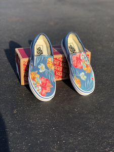 Vans Slip-Ons Custom Printed Blue Hawaiian Flowers