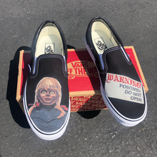 Load image into Gallery viewer, Scary Annabelle Black Slip On Vans - Custom Vans Slip On Shoes