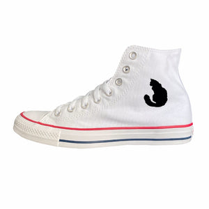 Long-Haired Cat Silhouette White High-Top Converse