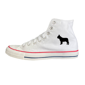 French Bulldog Silhouette White High-Top Converse