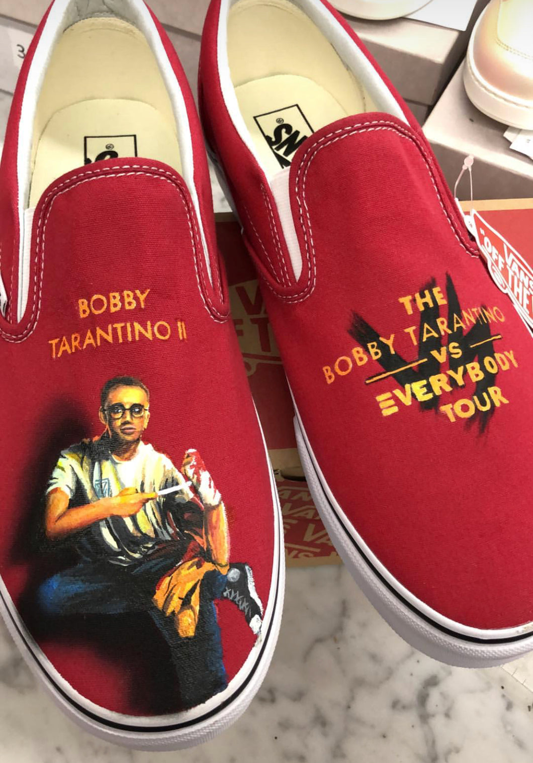 US Men's size 8 Red Slip on Vans - Logic Theme - Custom Order