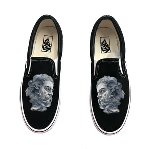 Greek God Black Vans Slip Ons
