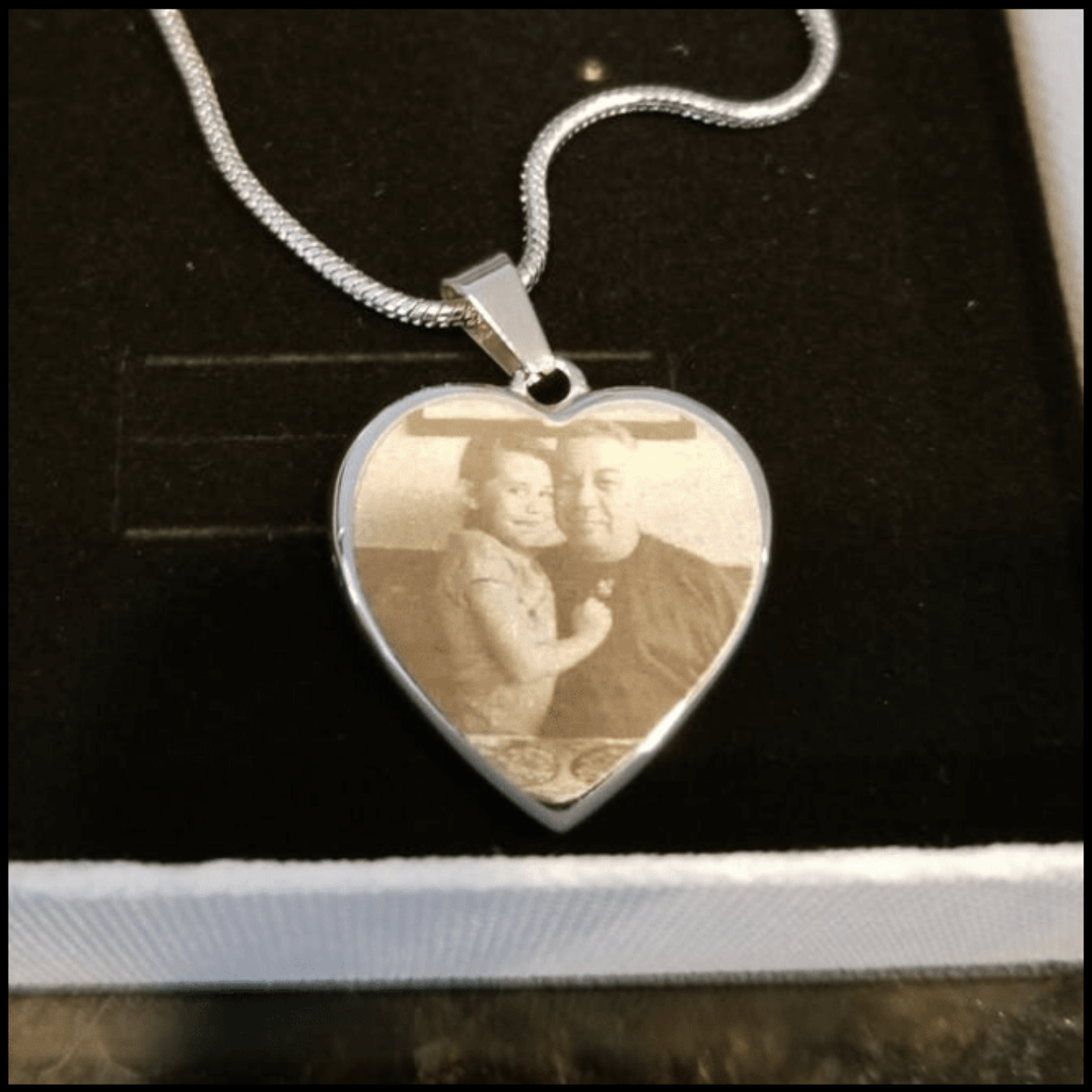 Memorial Photo Heart Necklace