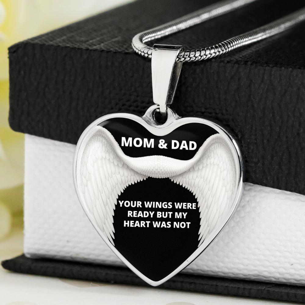 MEMORIAL MOM & DAD HEART NECKLACE