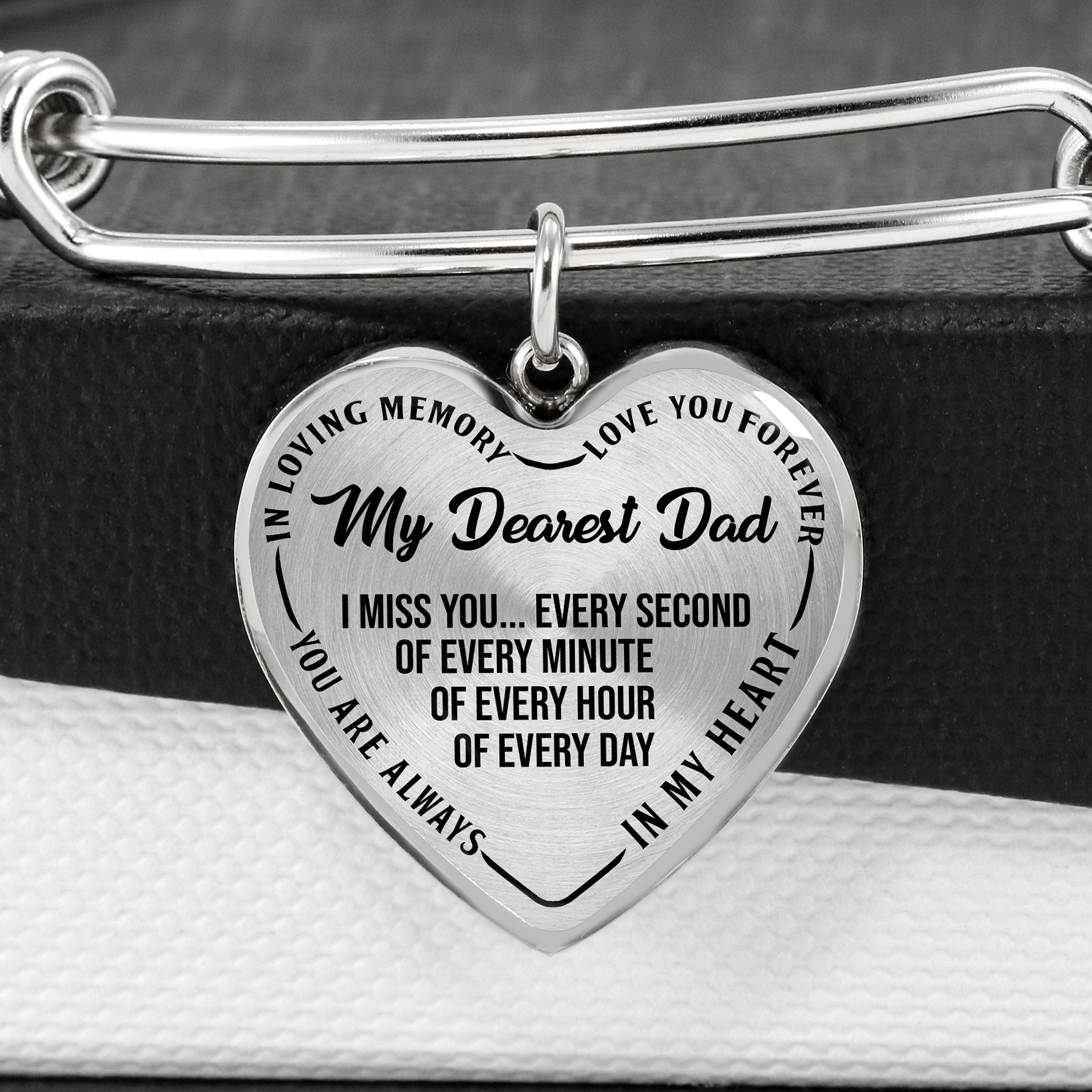 Memorial Dad Heart Bangle