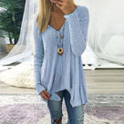 V Neck  Asymmetric Hem  Plain Sweater