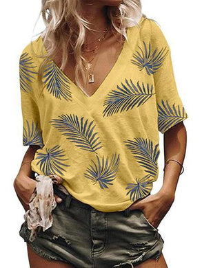 Casual V Neck Floral Print Short Sleeve T-Shirt
