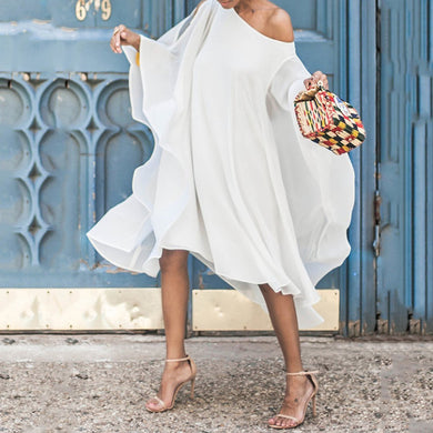 Chiffon Off-The-Shoulder Sleeve Casual Dress