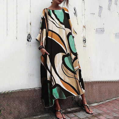 Baggy And Fashionable Print Maxi   Dress