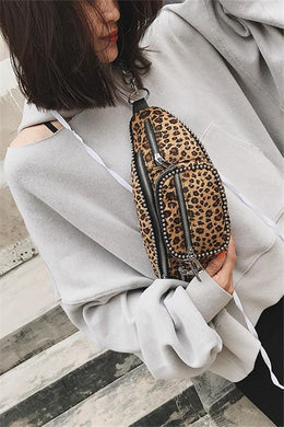 Leopard-Print Silver Beaded King Fanny Pack   With Single Shoulder Slanting Chest Bag