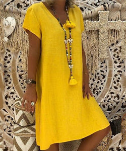Solid Color Short Sleeved V Neck Dress