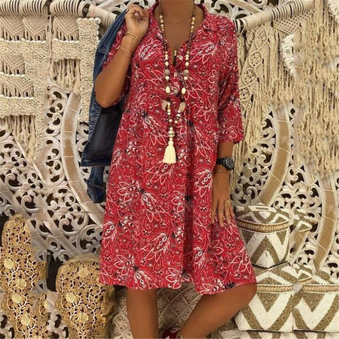 Leisure Seven Sleeve V Collar Printed Dress