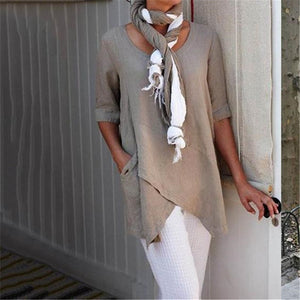 Pure Color Long Sleeve Casual Blouses