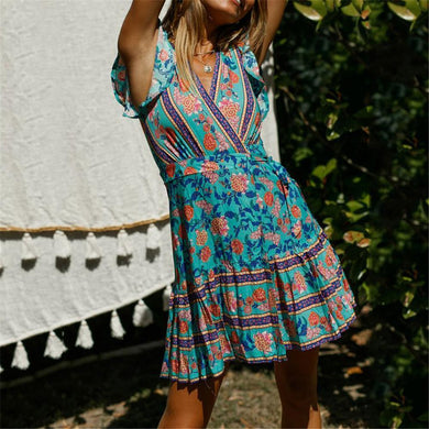 Simple V Collar Floral Printed Beach Vacation Mini Dress