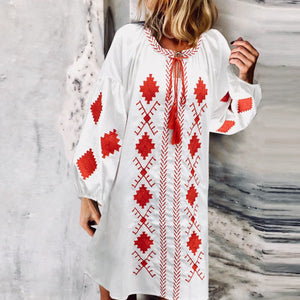 Ethnic Style Bishop Sleeve Loose Inwrought Dresses