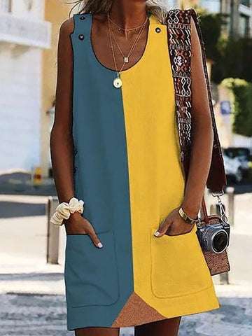 Commuting Contrast Color Round Neck Sleeveless Dress