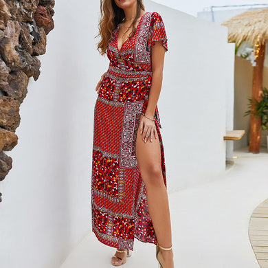 Women's Casual V Collar Short-Sleeved Bohemian Dress
