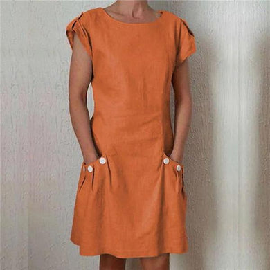 Fashion Round Collar Short Sleeves Casual Dresses