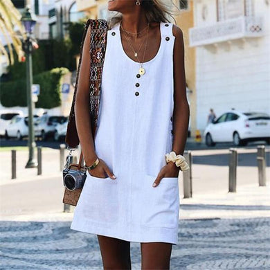 Fashion Sleeveless Vest Buttons Casual Dresses