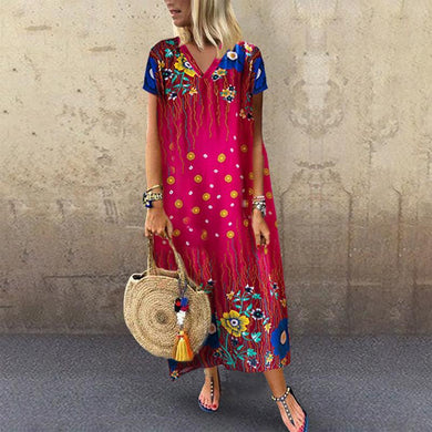 Casual V Neck Batwing Sleeve Printed Colour Dress