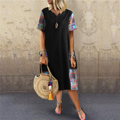 Fashion Cotton And Linen Printing Casual Dresses