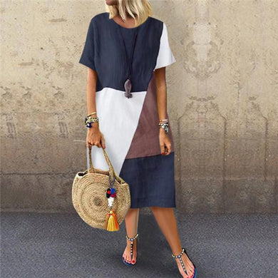 Fashion Cotton And Hemp Stitching Casual Dresses