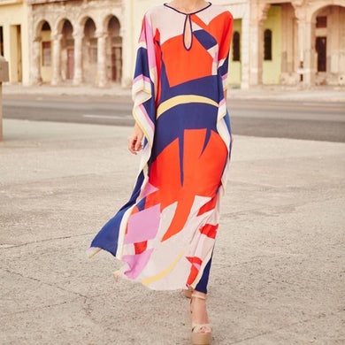 Large Color Block Positioning Printing Long Skirt
