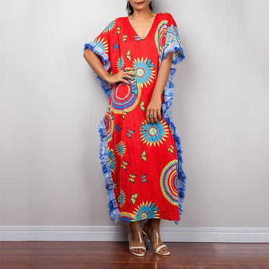 Bohemian V Neck Printed Colour Tassel Batwing Sleeve Dress