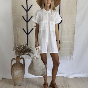 Casual Stand Collar Pure Color Short Sleeve Dress