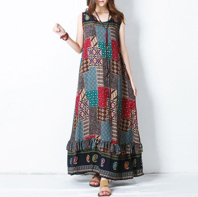 Bohemi Sleeveless Printed Colour High-Waist Dress