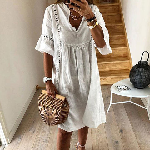 Pure Color Crocheted Casual Dress