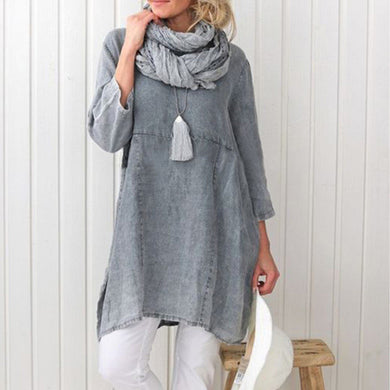 Pure Color Cotton Hemp Seven-Sleeve Dress