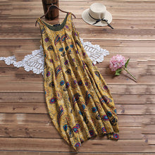 Load image into Gallery viewer, Printed Sleeveless Loose Round Collar Dress