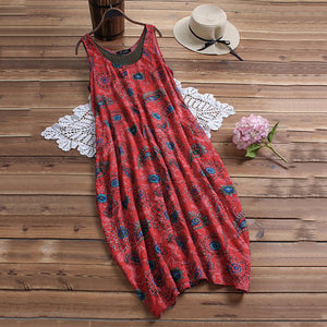 Printed Sleeveless Loose Round Collar Dress