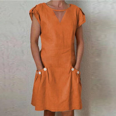 Sexy Solid Color V-Neck Pocket Short Sleeve Dress