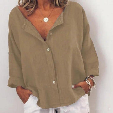 Sexy Solid Color V-Neck Long Sleeves Shirt