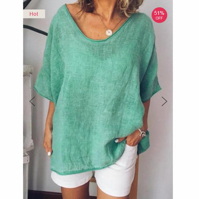 Sexy Solid Color V-Neck Loose Short Sleeves T-Shirt