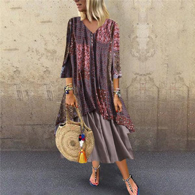 Fashion Cotton And Linen Printing Splicing Casual Dresses